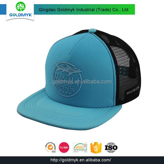 Custom rubber printing 100% Polyester 5 panel mesh snapback hats cf79da1d8c72
