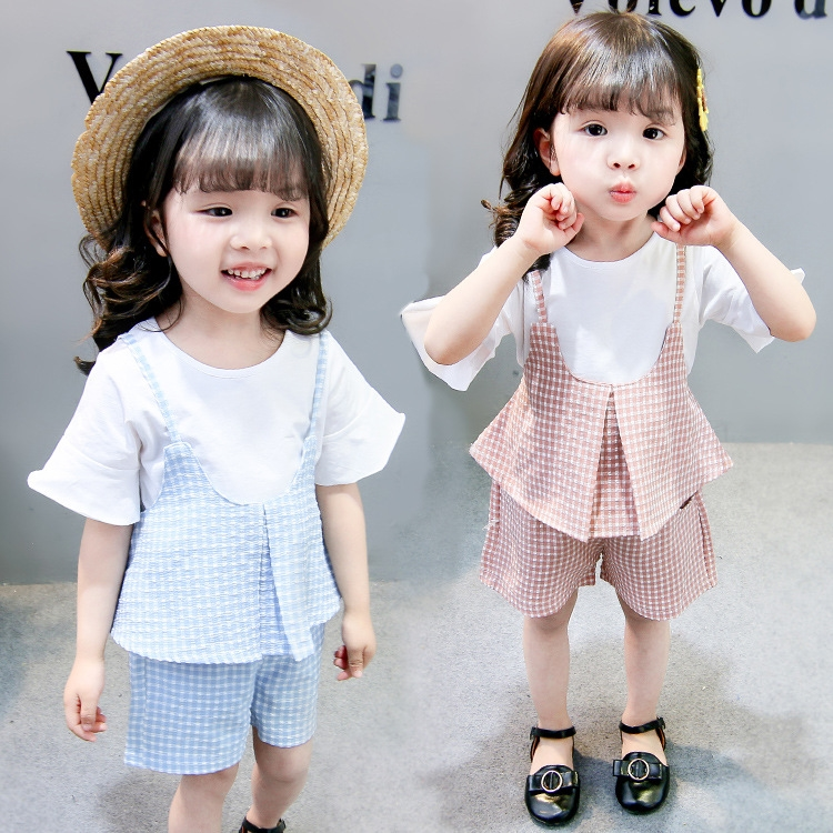 Girls Summer Plaid 3pcs Suits Children T-shirt+Strap+Shorts Three Pieces Sets Kids Baby Casual Sets Clothes