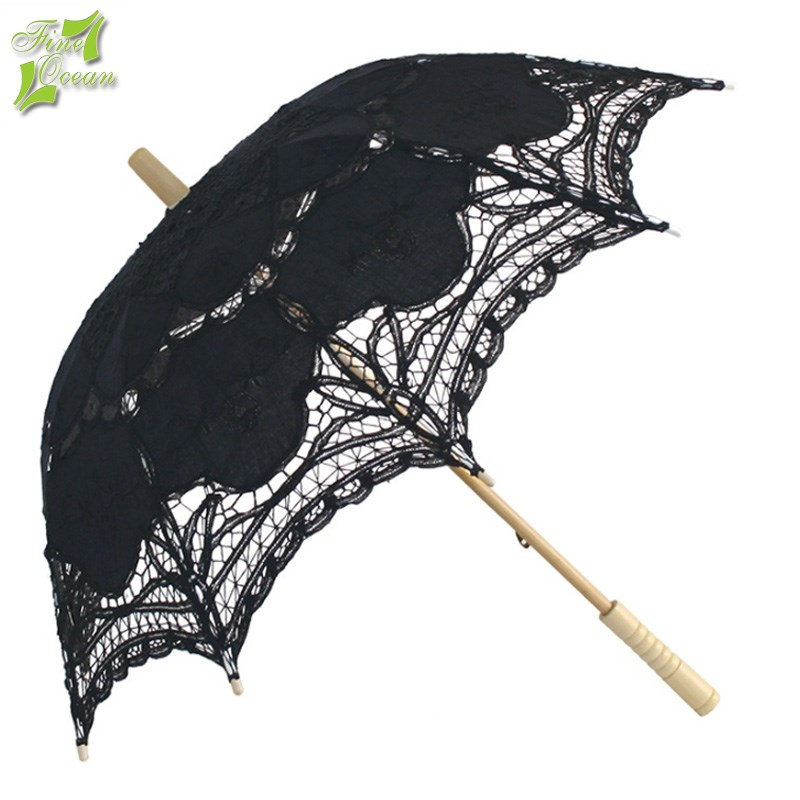 Fancy mini dolls battenburg lace embroidery wedding parasol umbrella