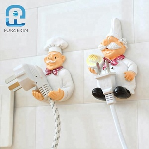 High Duty Chef Shape Clothes Hanger Plastic Door Adhesive Hooks And Loop Tape For Kitchen
