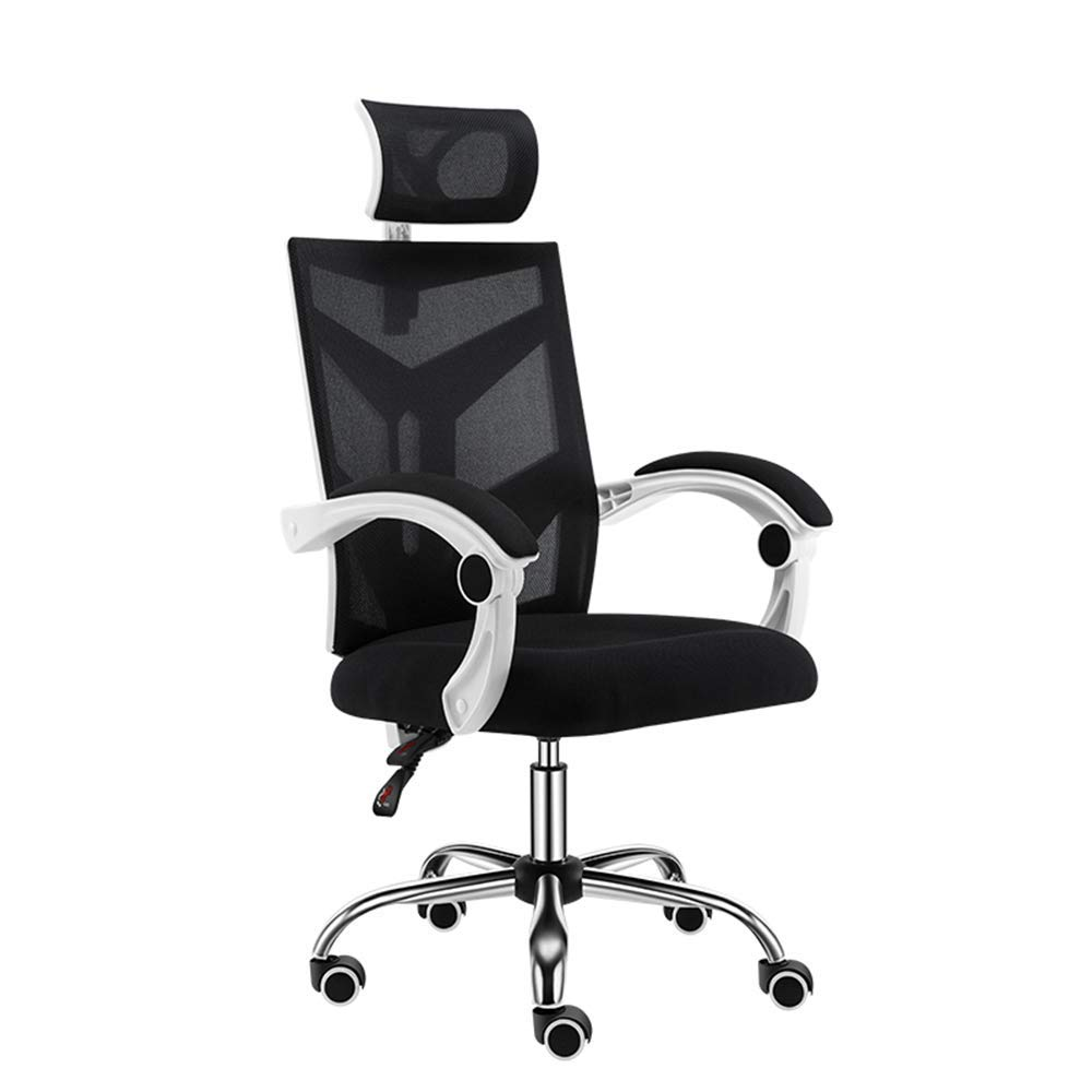 QFFL jiaozhengyi Swivel Chair,Computer Chair Household Game Swivel Chair Office Chair Ergonomic Chair (Color : White Black)