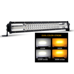 Triple Row Dual color 22inch flashing Amber Strobe Car Warning led light bar for trucks
