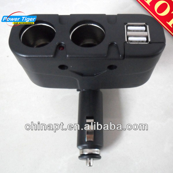 Two Way Car Cigarette Lighter Socket Splitter with two USB Port