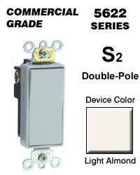 Leviton 5622-2T Rocker Switch Decora Double-Pole 20 Amp 120/277 VAC Self-Grounding Commercial Grade Back & Side Wired - Light Almond (Pkg of 10)