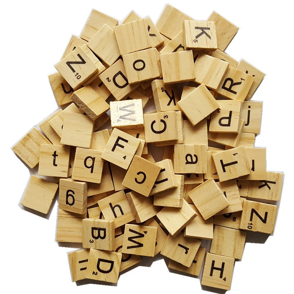 MAIYUAN 500 Pcs Wood Letters, Scrabble Letters, Scrabble Tiles, Letters Tiles, Replacement Tiles, Wooden Letters, Tile Games Great for Crafts, Spelling, Pendants, Scrapbooking, Jewelry Making, DIY