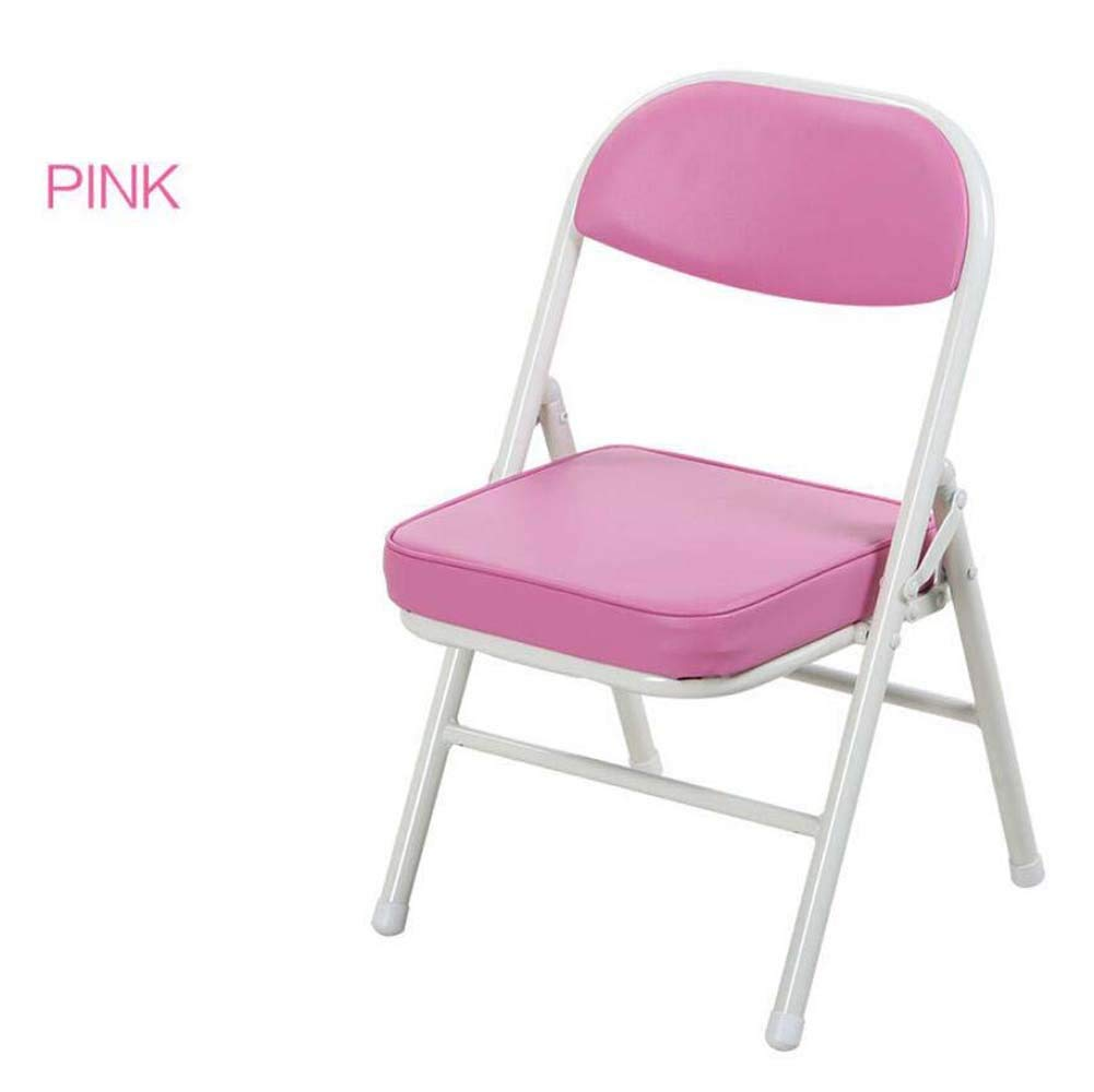 Onfly Children's Folding Chair Stool Portable Folding Back Chair Stool Color Cartoon Kids Chairs Metal Folding Chair Game Chair Padded Cushions (Color : Pink)