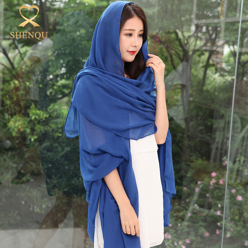 Fashionable women Long muslim hijab shawl sarong solid colors oversized cotton and linen scarves