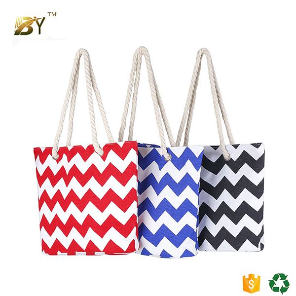 Colored strips printed cotton knitting reusable shopping gift tote bag