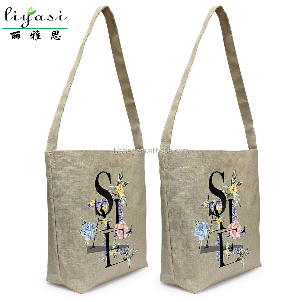 Shoulder Sling Hemp Bag PVC Coating Jute Promotional Bag
