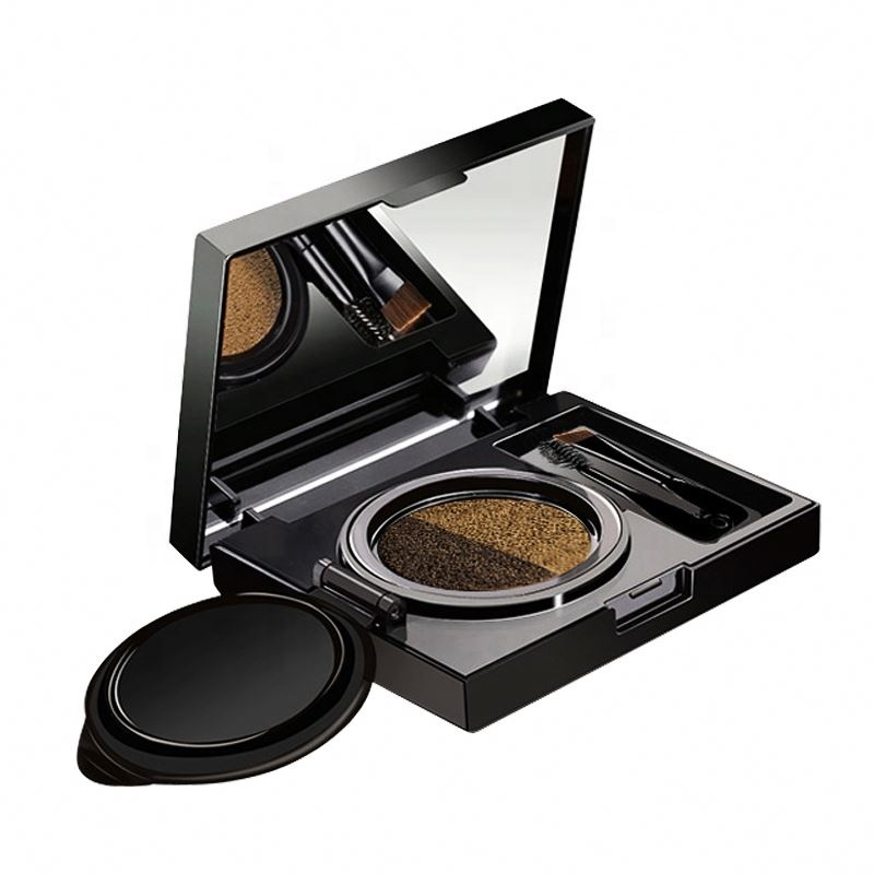 OEM 2 color eyebrow with brush mirror makeup air cushion eyebrow powder