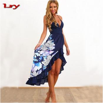 40917c07d Verano de alta cintura impreso casual vestido de mujer ropa de noche largo  elegante vestidos de