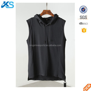 2017 OEM wholesale men's sleeveless hoody jersey cotton blend hooded blank hoody