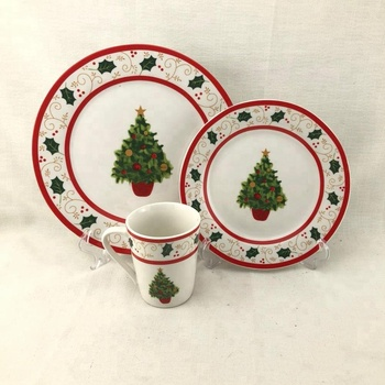 Wholesale Christmas Design Colorful And White Porcelain Flat Plate