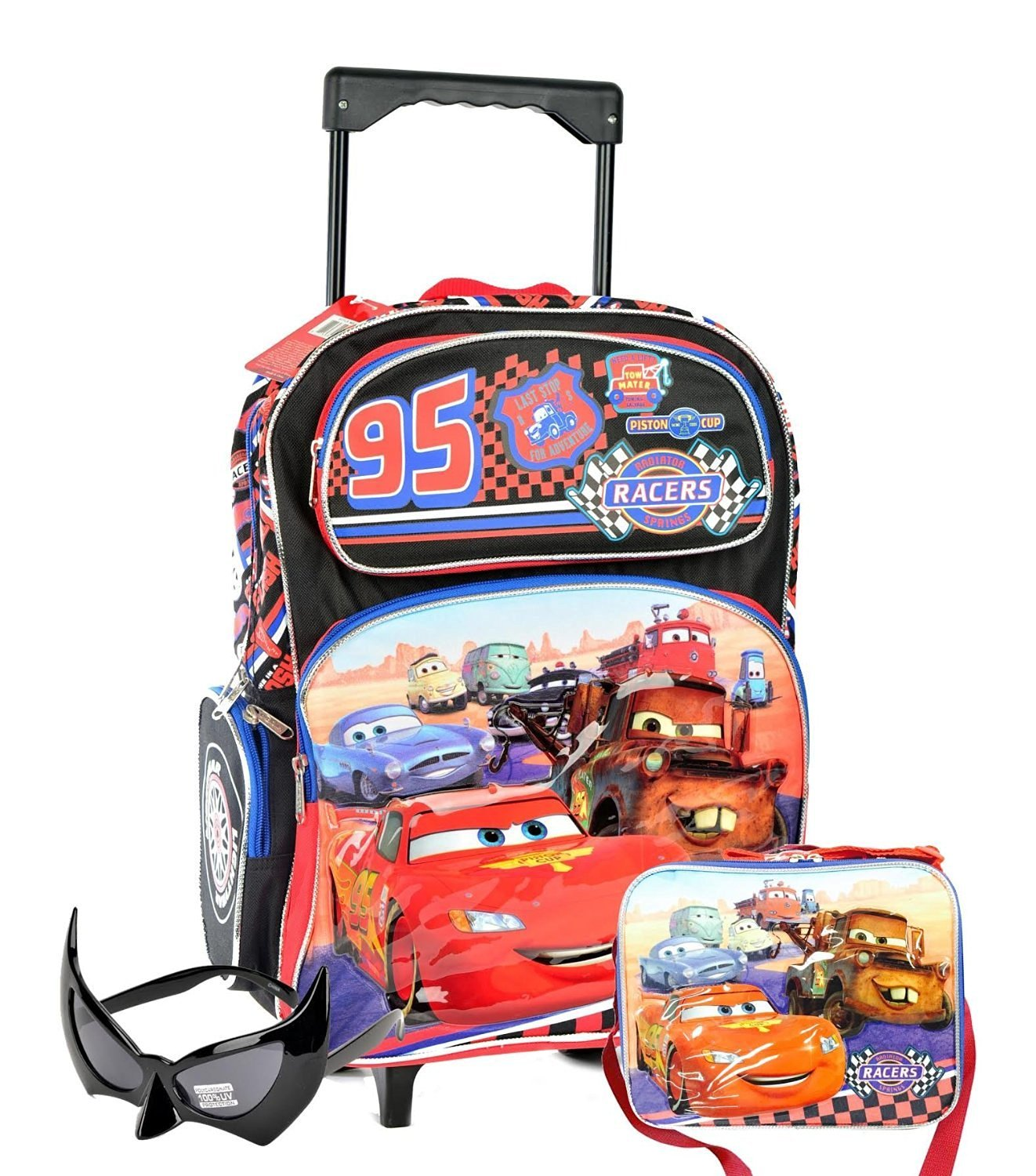 ae3b0c1cb89 Get Quotations · Back to School Combo - Disney Cars Large Rolling Backpack  and Cars Insulated Lunch Bag Set