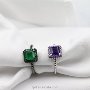Funky and Excellent Green Agate or Amethyst Ring Custom Gemstone Value 925 Silver Ring