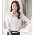 2016 New Fashion Women Shirt Summer Slim Lace Shirt for Women Lady Female Casual Shirt Chiffon