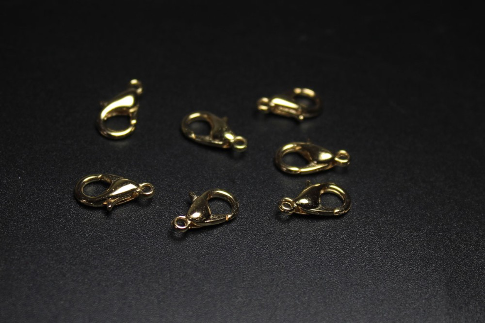 Tryme 300 pcs/lot Jewelry 12MM*5MM Findings KC Gold Plated Lobster Clasp Hooks For Necklace Making Fit Chain DIY Jewelry