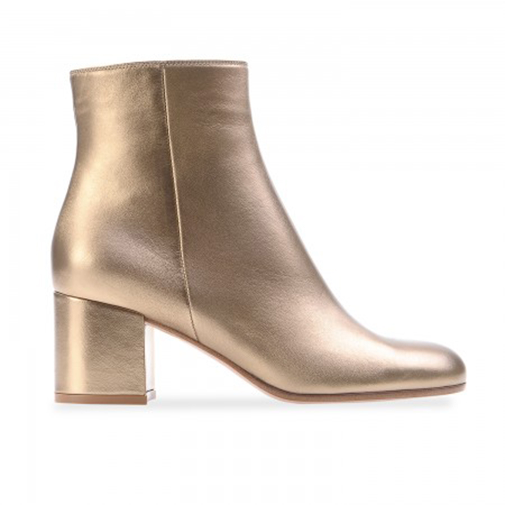 Simple Comfortable Pale Gold Square Heel Ankle Boot