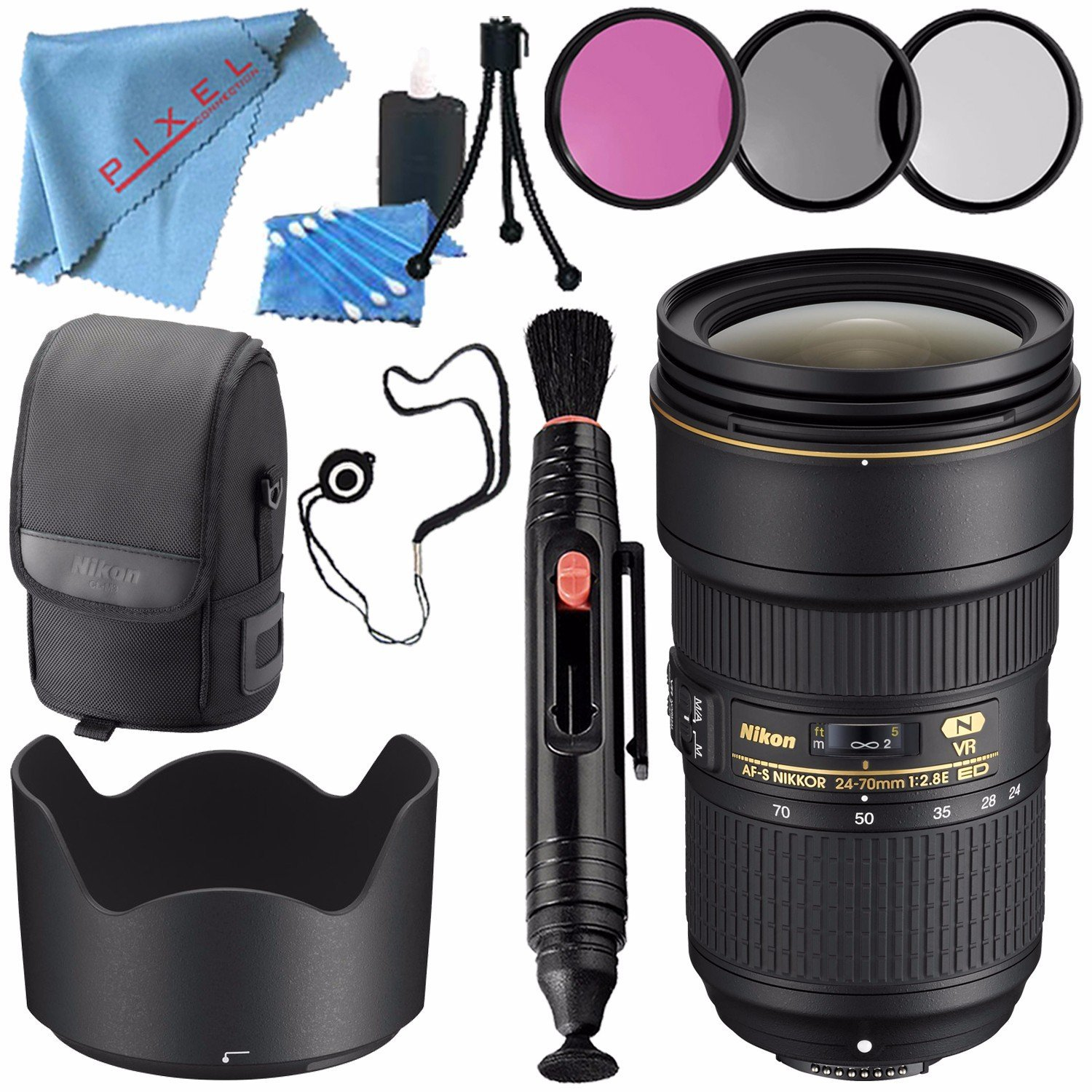 Nikon AF-S NIKKOR 24-70mm f/2.8E ED VR Lens 20052 + 82mm 3 Piece Filter Kit + Lens Pen Cleaner + Fibercloth + Lens Capkeeper + Lens Cleaning Kit Bundle