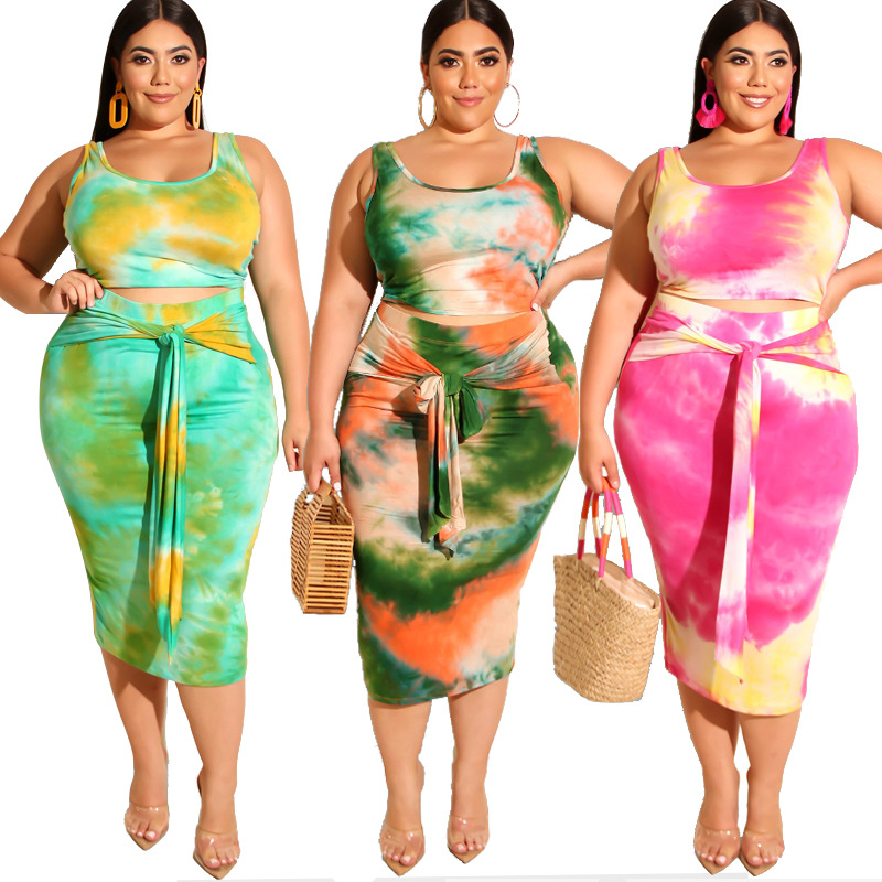 Wholesale MT513-19226 Women's Summer Plus Size Printed Round Neck Sleeveless Causal Dress With Tie