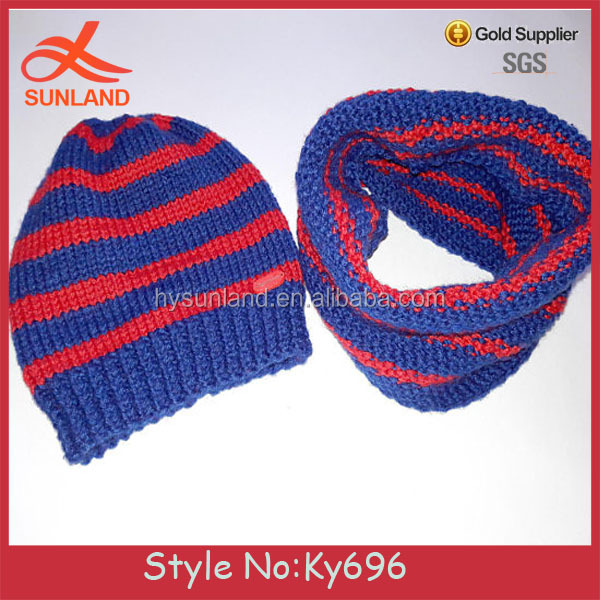 23d3e8ad5b6 Fashion Design Children s Set Beanie Scarf Snood Cap Muffler Red And Blue  Stripes 100%merino Wool Sets For Knitting Models Hat - Buy Knitting Models  And Cap ...