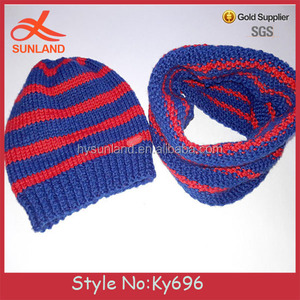 Fashion design Children's set beanie scarf Snood cap muffler red and blue stripes 100%Merino wool sets for knitting models hat