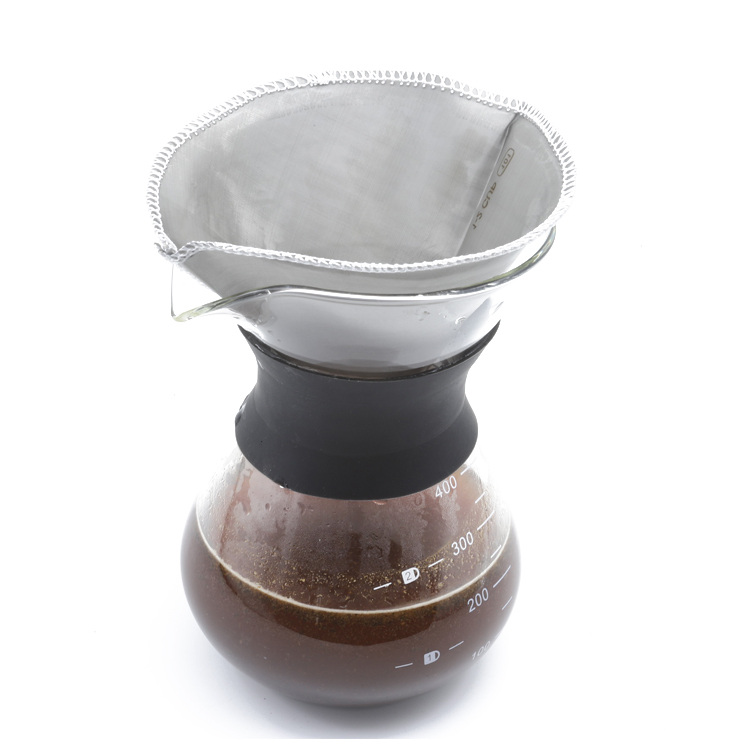 600 micron reusable 304 stainless steel flat portable coffee filter