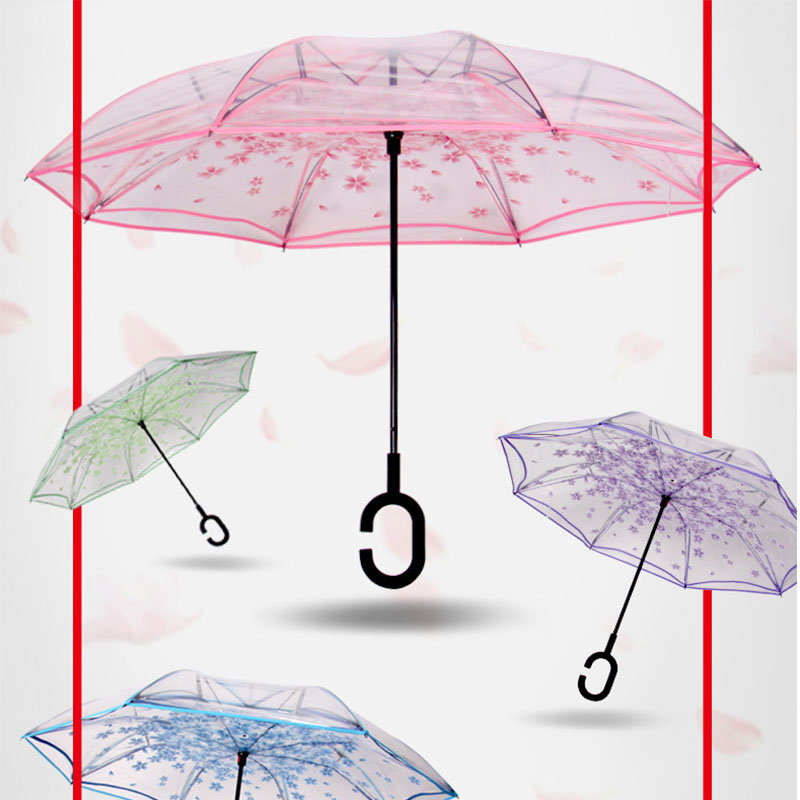 Hot Sale Fashion Transparent Reverse Double Layer Cherry Blossoms Inverted Umbrella with C-Hook Handle
