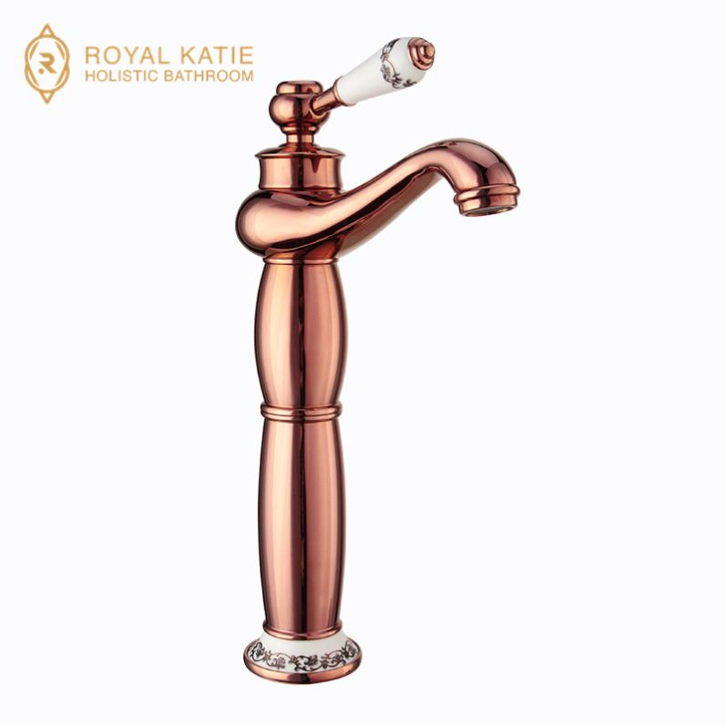 Deck Mounted High End Swan Basin Sink Faucet Widespread Golden Two Crystal Handle Mixer Taps