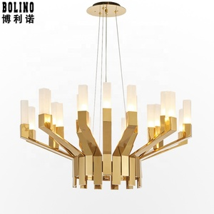 luxury gold color acrylic&metal iron G9 light source design chandelier