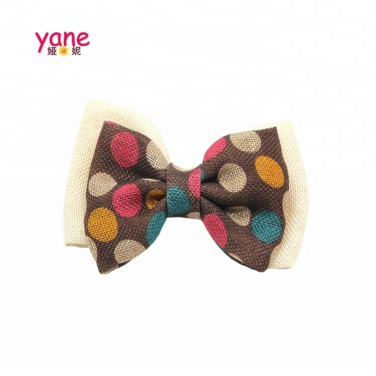 Hot selling printed girls hair bow cotton jo j o bow hair clip
