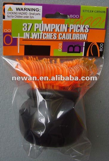 37 PlasticHalloween Pumpkin Toothpicks in Witches Cauldron