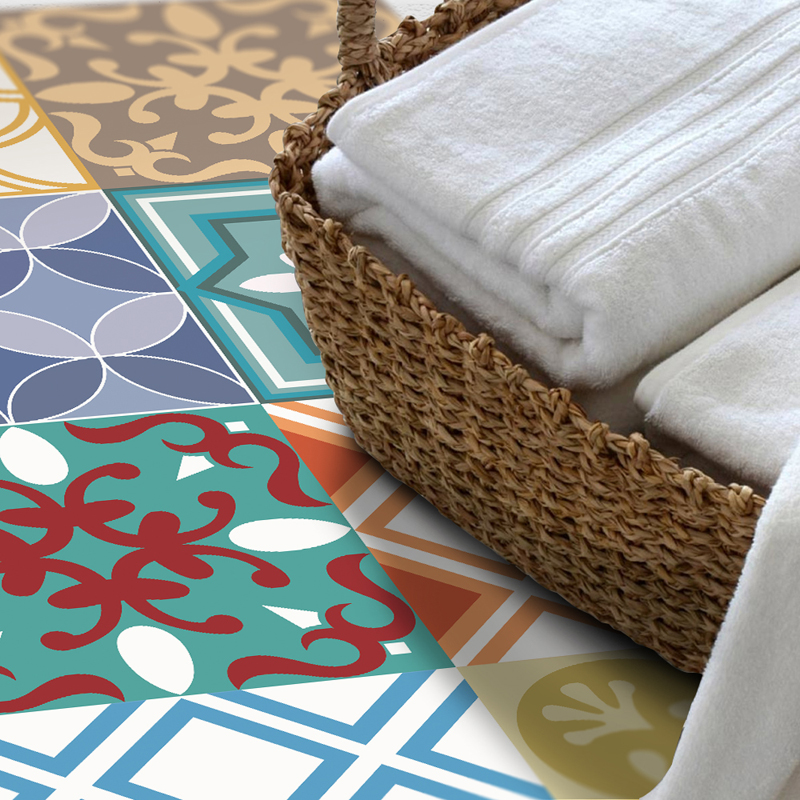 DB020 Moroccan Style Wear-resisting Removable 3D Full Color Floor Sticker