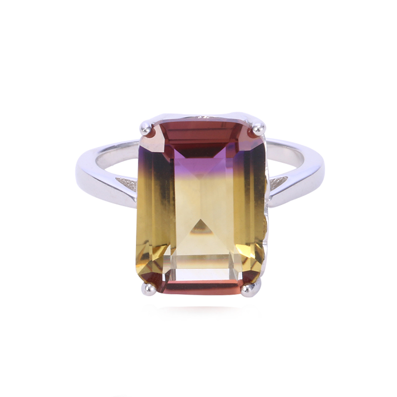 SJSAM51 Original Solitaire Rectangle Ametrine Solid 925 Silver Jewelry Smooth Band Ring Best Gift For Bridal As Wedding Gift