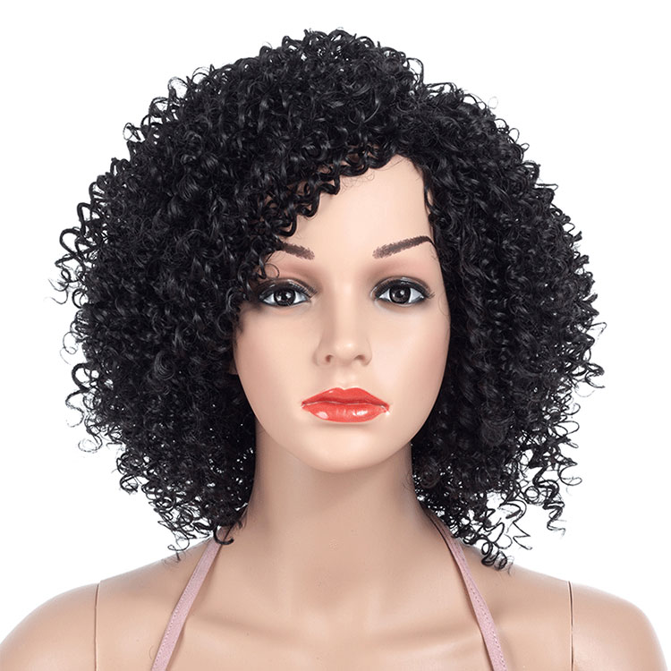 Short Hair <strong>Wigs</strong> 14inch Afro Kinky Curly <strong>Wig</strong> <strong>Synthetic</strong> <strong>Wigs</strong> for Women Natural Black Afro High Temperature Hair Available