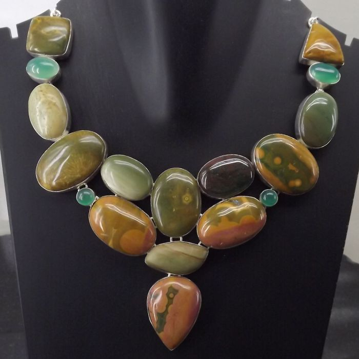 Green Onyx, Jasper Necklace plated 925 Sterling Silver 111 Gms 18-20 Inches