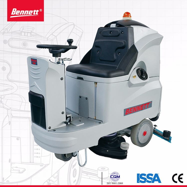 battery powered ride on type concrete scrubber cleaning machine