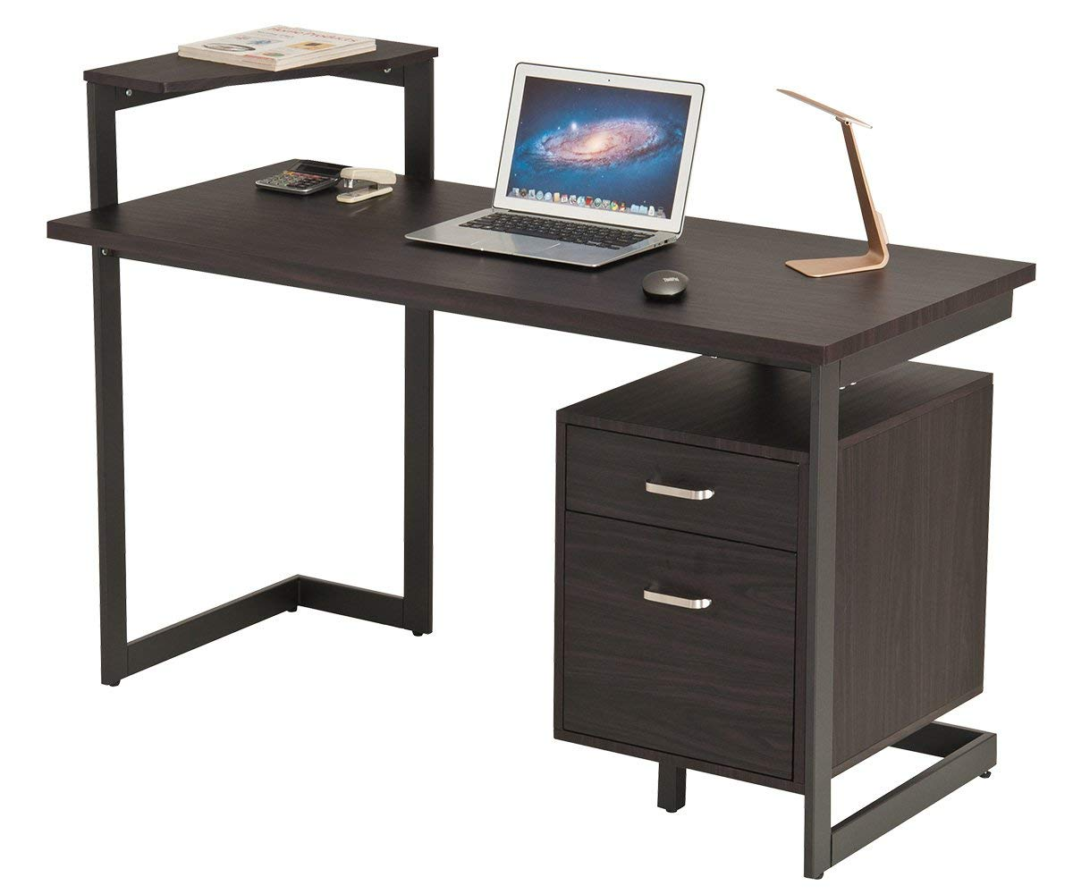 ProHT Office Computer Writing Desk with Two Drawers (05018A).Compact Modern Computer/PC/Laptop/Table/Workstation Corner Desk for Small Place,Durable Frame,CARB Certified.Chocolate&Brown