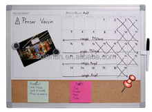 Aluminum frame customized 2/3 magnetic whiteboard 1/3 soft cork board bulletin board with low price