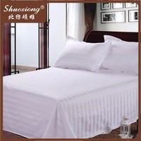 4 star hotel motel white stripe polyester cotton adult sheeting