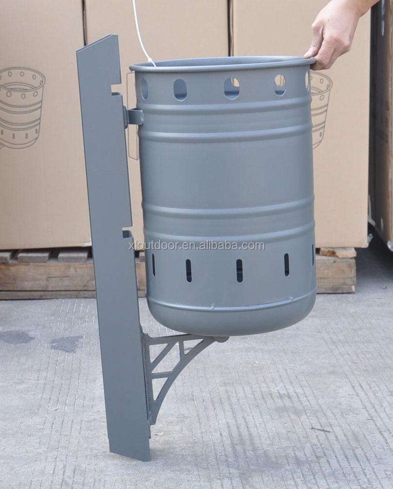 Steel wall mounted dust bin hanging waste bin garbage bin for Wall hanging from waste