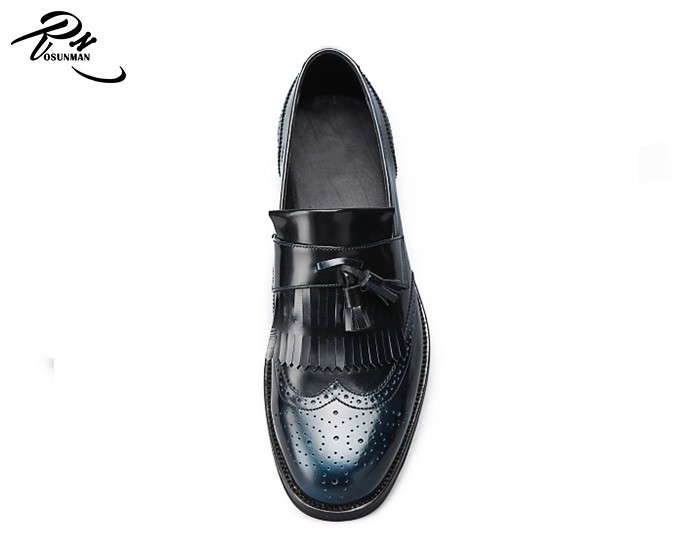 044b91a0b0cf Italian fashion mens formal shoes tassel loafers shoe for men in black color