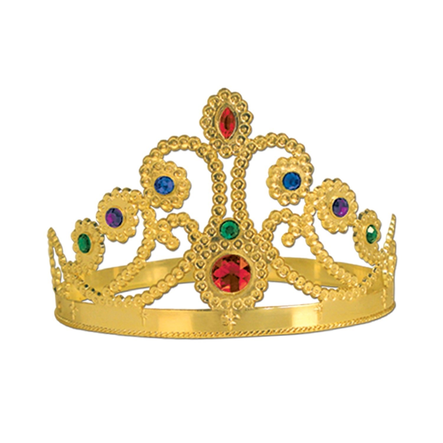 Beistle 60251-GD 12-Pack Plastic Jeweled Queen-Feets Tiara, Gold