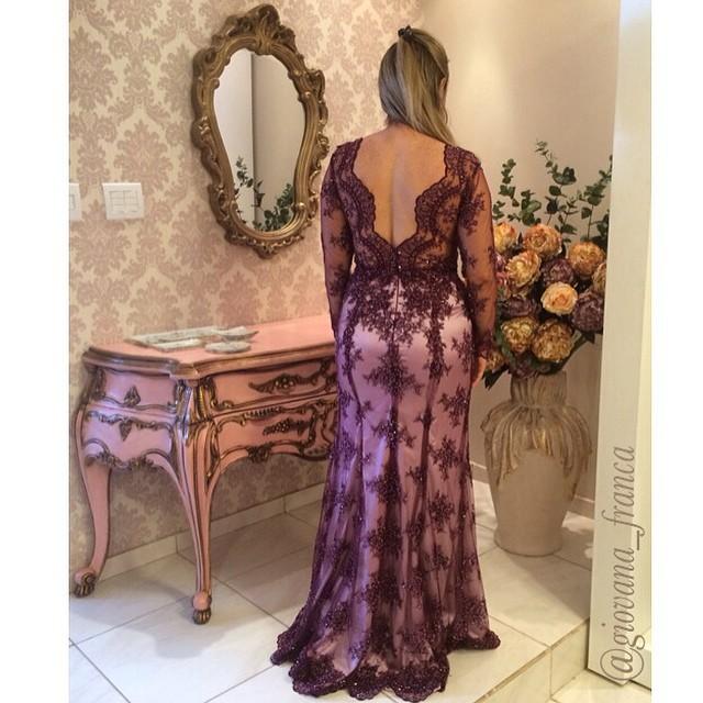b0de382a99a7b ABS-020 Plus Size Mãe Do Casamento Vestido Roxo Manga Longa Baixo de volta  vestido