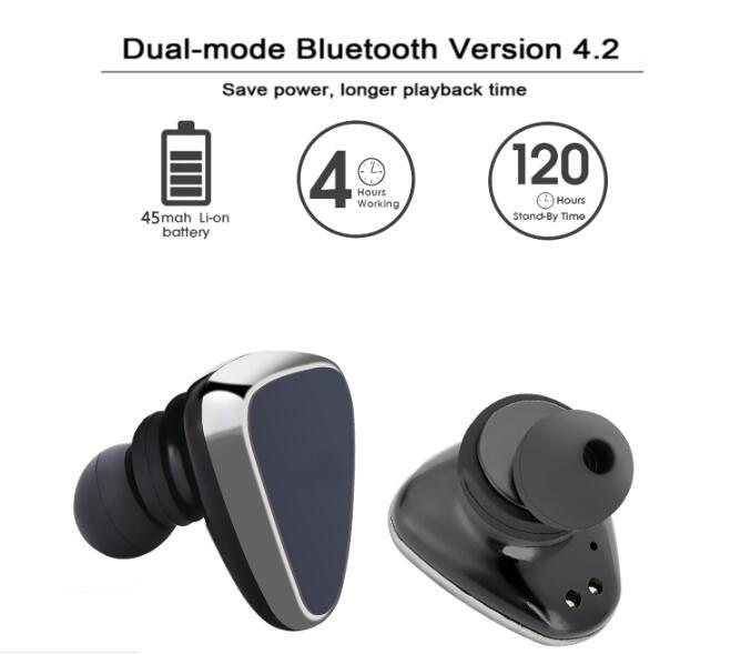 mini size bluetooth ear plugs twins true wireless stereo. Black Bedroom Furniture Sets. Home Design Ideas