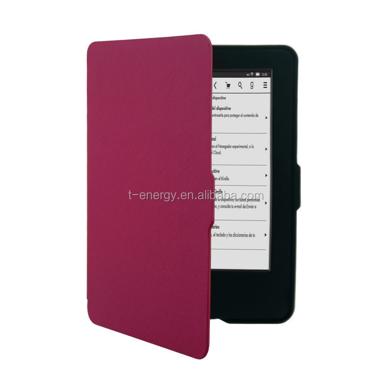 For Amazon Kindle (7th Generation 2014 Model)SamrtShell Leather Smart Cover Case For Kindle (2014) -Hot Pink