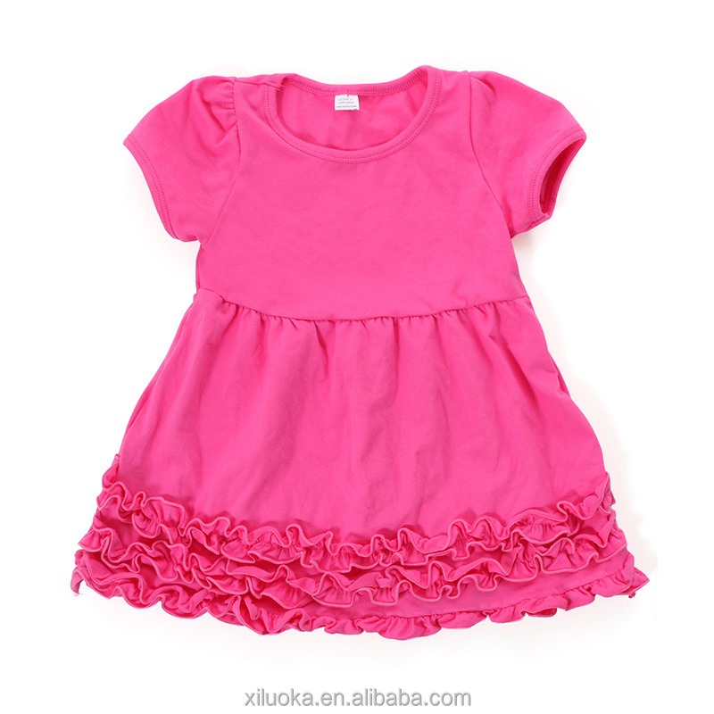 Summer boutique cap short sleeve latest ruffled kids cotton frocks design