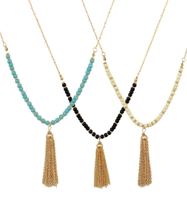 Vintage Boho Tribe Turquoise Seed Beads Long Necklaces Nylon Tassel Charm Necklace Jewellry