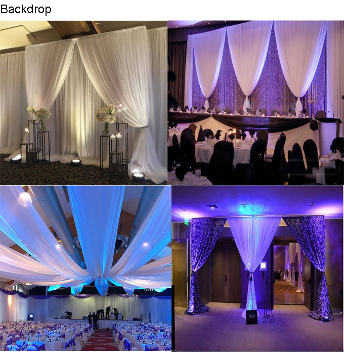 Pijp en drapeer systeem Wedding achtergrond stand met chiffon stof gordijn voor bruiloft