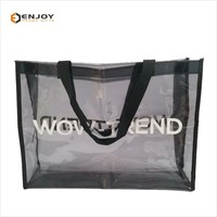 Soft Crystal Clear Plastic Black Translucent PVC Tote Bag